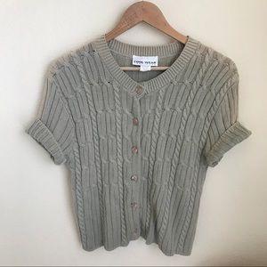 VINTAGE 100% cotton beige short sleeve cardigan